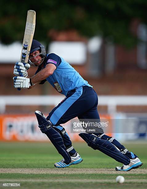 Wayne Madsen of Derbyshire hits the ball towards the boundary during the Royal London One Day Cup match between Leicestershire Foxes and Derbyshire...
