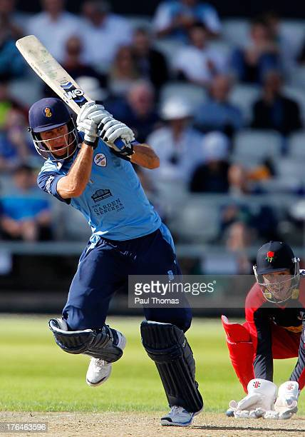 Wayne Madsen of Derbyshire plays a shot during the Yorkshire Bank 40 match between Lancashire Lightning and Derbyshire Falcons at Old Trafford on...