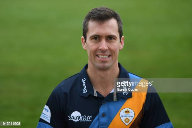 Wayne Madsen of Derbyshire poses for a portrait during Derbyshire CCC Photocall at The 3aaa County Ground on April 12 2018 in Derby England