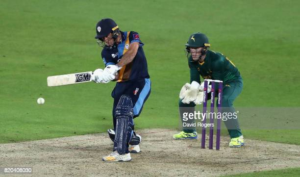 Wayne Madsen of Derbyshire pulls the ball for four runs during the NatWest T20 Blast match between Nottinghamshire Outlaws and Derbyshire Falcons at...