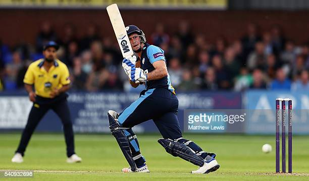 Wayne Madsen of Derbyshire pulls the ball towards the boundary during the NatWest T20 Blast match between Derbyshire and Warwickshire at The 3aaa...