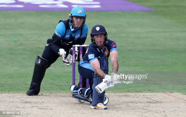 Wayne Madsen of Derbyshire sweeps the ball for four runs during the NatWest T20 Blast match between Worcestershrie Rapids and Derbyshire Falcons at...