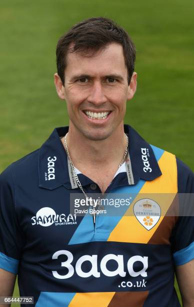 Wayne Madsen poses in the NatWest T20 Blast kit during the Derbyshire County Cricket photocall held at The 3aaa County Ground on April 4 2017 in...