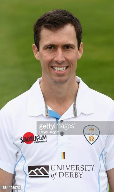 Wayne Madsen poses in the Specsavers County Championship kit during the Derbyshire County Cricket photocall held at The 3aaa County Ground on April 4...