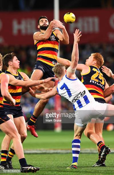 Wayne Milera of the Adelaide Crows attemps to mark during the round 22 AFL match between the Adelaide Crows and North Melbourne Kangaroos at Adelaide...