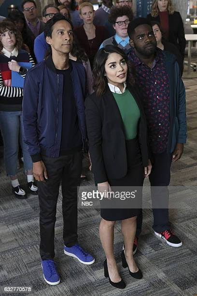 POWERLESS Wayne or Lose Episode 102 Pictured Danny Pudi as Teddy Vanessa Hudgens as Emily Ron Funches as Ron