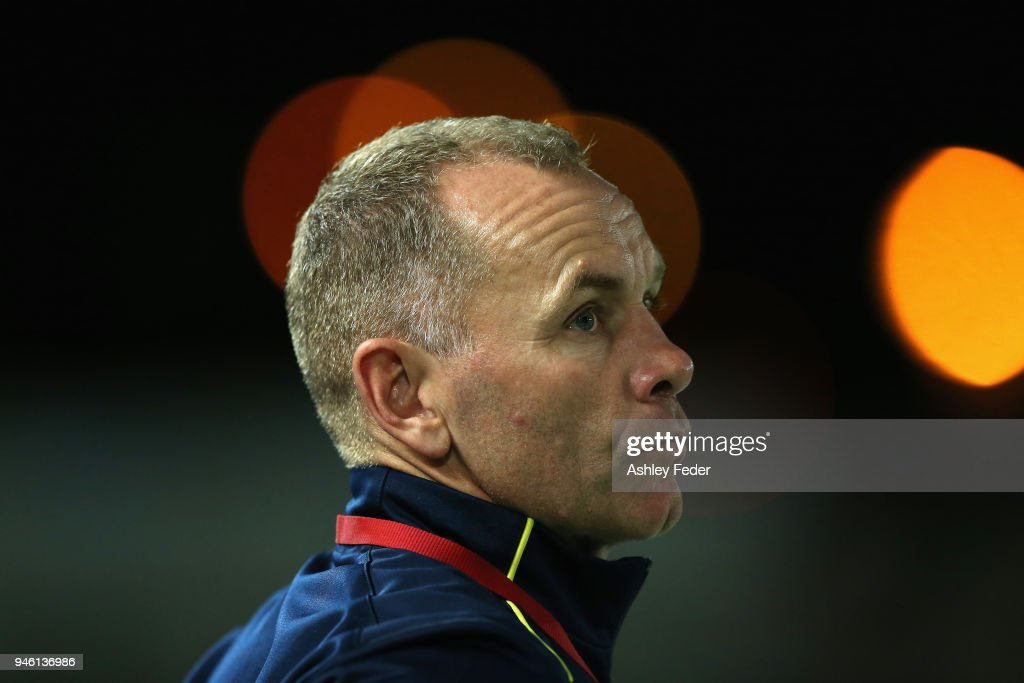 Wayne O'Sullivan coach of the Mariners looks on during the round 27 A-League match between the Central Coast Mariners and the Newcastle Jets at Central Coast Stadium on April 14, 2018 in Gosford, Australia.