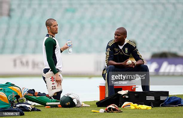 Wayne Parnell and Lonwabo Tsotsobe of South Africa have a chat during the South Africa nets session at The Kia Oval on August 30 2012 in London...