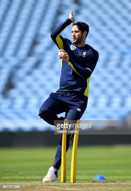 Wayne Parnell of South Africa bowls during a nets session at Headingley on May 23 2017 in Leeds England