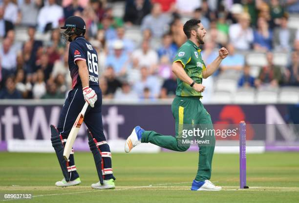 Wayne Parnell of South Africa celebrates after trapping Joe Root of England lbw during the 3rd Royal London ODI between England and South Africa at...