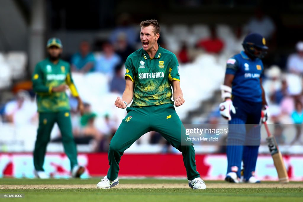 Wayne Parnell of South Africa celebrates dismissing Seekkuge Prasanna of Sri Lanka during the ICC Champions Trophy match between Sri Lanka and South Africa at The Kia Oval on June 3, 2017 in London, England.