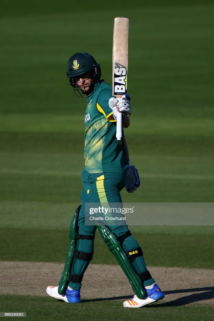 Wayne Parnell of South Africa celebrates his fifty during the Tour Match between Sussex and South Africa at The 1st Central County Ground on May 19, 2017 in Hove, England.