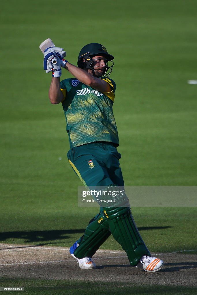 Wayne Parnell of South Africa hits out during the Tour Match between Sussex and South Africa at The 1st Central County Ground on May 19, 2017 in Hove, England.