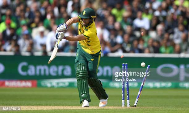 Wayne Parnell of South Africa is bowled by Hasan Ali of Pakistan during the ICC Champions Trophy match between Pakistan and South Africa at Edgbaston...