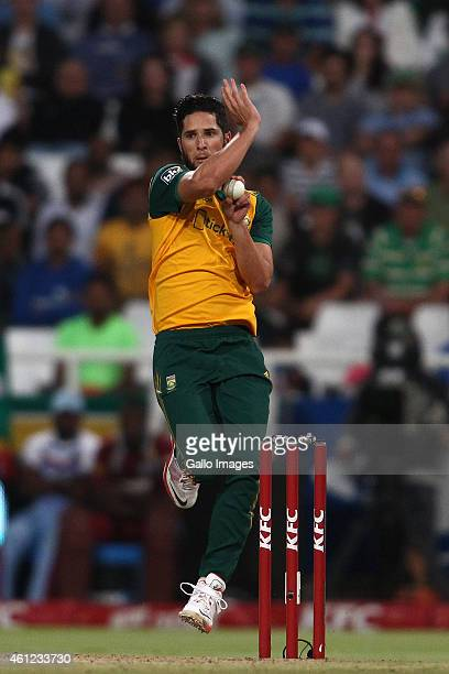 Wayne Parnell of South Africa sends down a delivery during the 1st KFC T20 International match between South Africa and West Indies at Sahara Park...