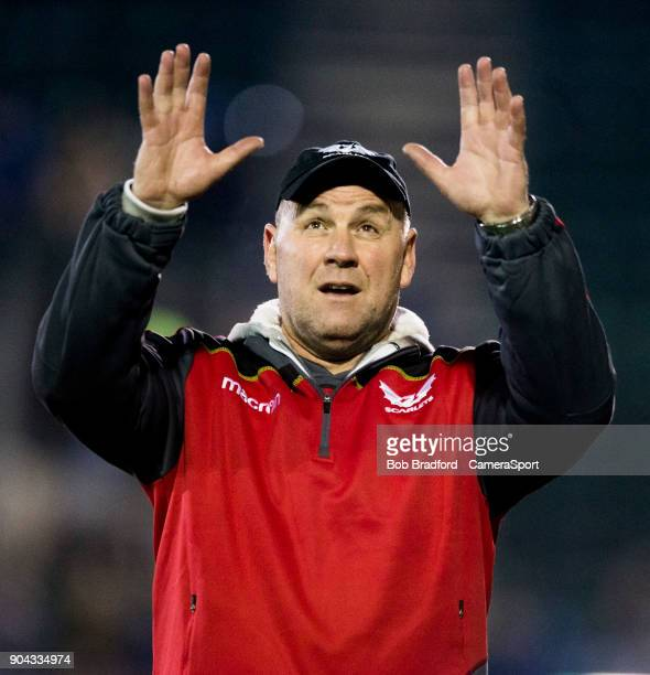 Wayne Pivac during the European Rugby Champions Cup match between Bath Rugby and Scarlets at Recreation Ground on January 12 2018 in Bath England