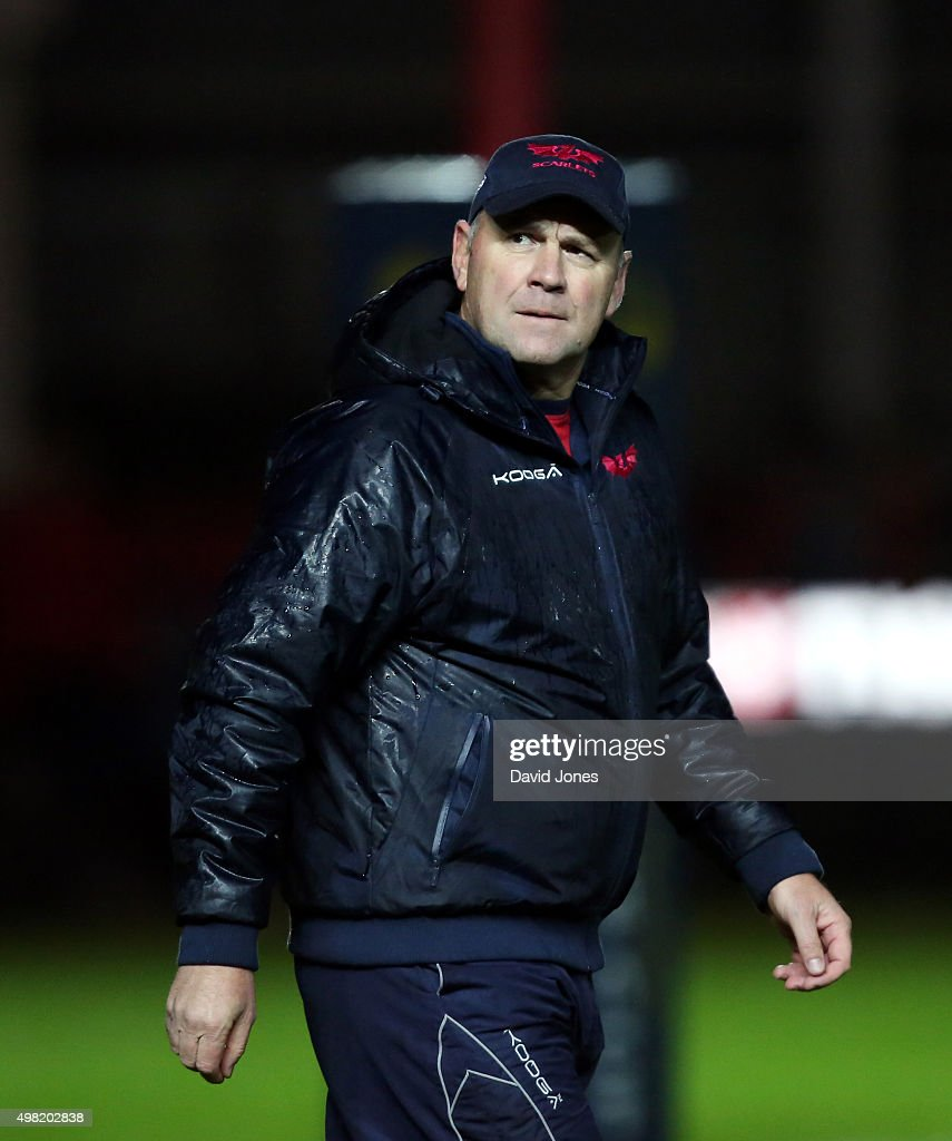 Wayne Pivac, Head Coach of Scarlets before the European Rugby Champions Cup match between Scarlets and Racing 92 at the Parc y Scarlets on November 21, 2015 in Llanelli, Wales.