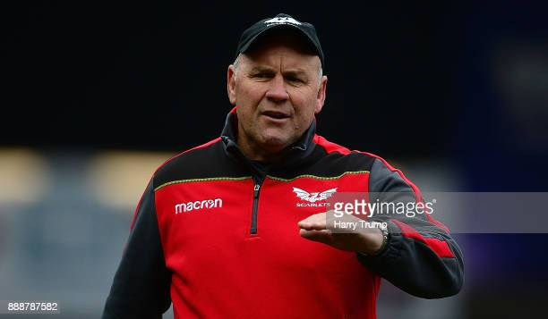 Wayne Pivac Head Coach of Scarlets during the European Rugby Champions Cup match between Scarlets and Benetton Rugby at Parc y Scarlets on December 9...