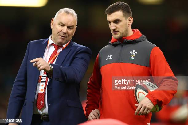 Wayne Pivac Head Coach of Wales in discussion with technical advisor defence and breakdown Sam Warburton during the International Friendly match...