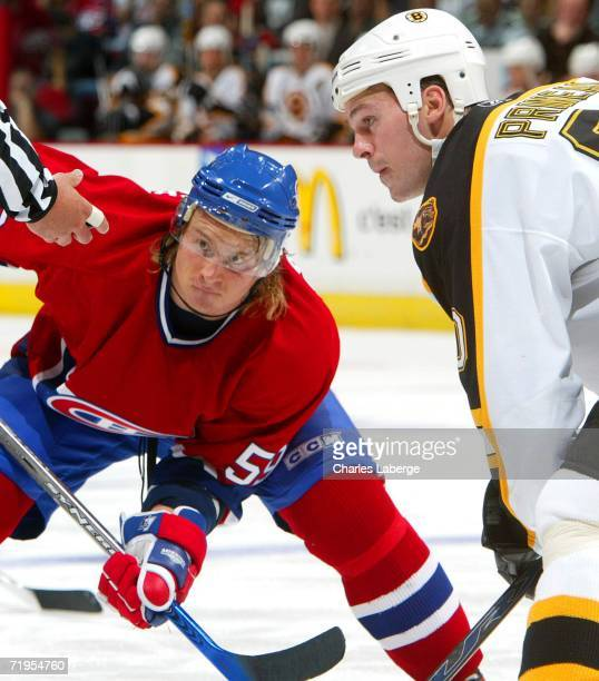 Wayne Primeau of the Boston Bruins in position for a faceoff against Mikhail Grabovski of the Montreal Canadiens during their preseason game on...