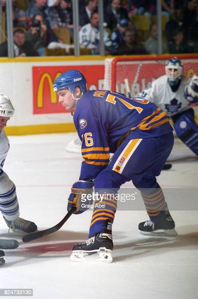 Wayne Primeau of the Buffalo Sabres prepares for a faceoff against the Toronto Maple Leafs during NHL preseason action on October 2 1995 at Maple...