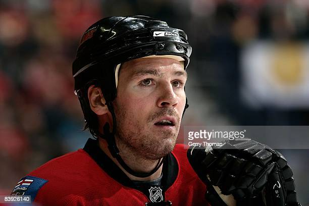 Wayne Primeau of the Calgary Flames skates against the Vancouver Canucks on November 29 2008 at Pengrowth Saddledome in Calgary Alberta Canada The...
