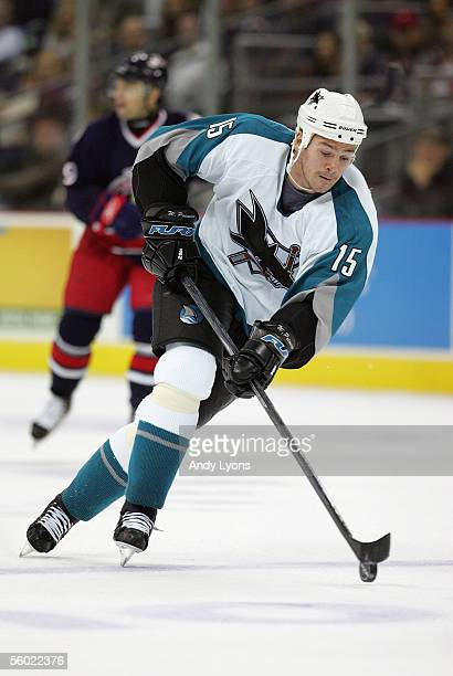 Wayne Primeau of the San Jose Sharks skates the puck through center ice against the Columbus Blue Jackets during their NHL game at Nationwide Arena...