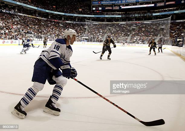 Wayne Primeau of the Toronto Maple Leafs carries the puck during the game against the Boston Bruins on December 19 2009 at the Air Canada Centre in...
