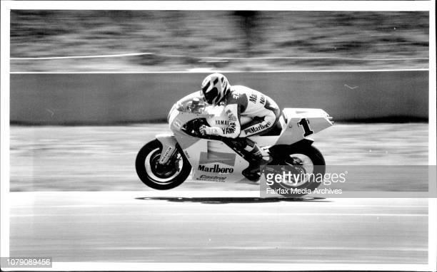 Wayne Rainey in ActionMotor bike Grand Prix practice at Eastern Creek April 11 1992