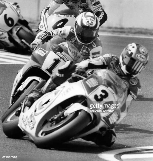 Wayne Rainey of the United States and Yamaha leads the pack during the Japanese Motorcycle Grand Prix 500cc race at Suzuka Circuit on April 18 1993...