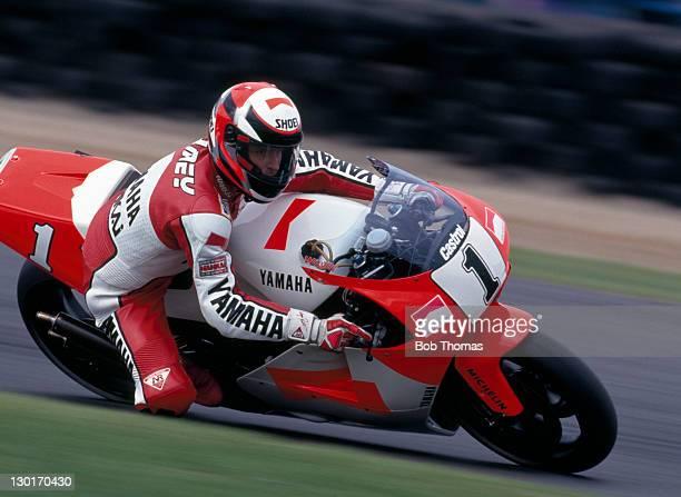 Wayne Rainey of the USA riding a Yamaha 500cc during the British Motorcycle Grand Prix at Donington Park circa 1992