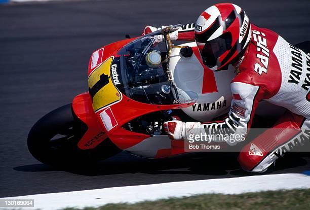 Wayne Rainey of the USA riding a Yamaha motorcycle circa 1986