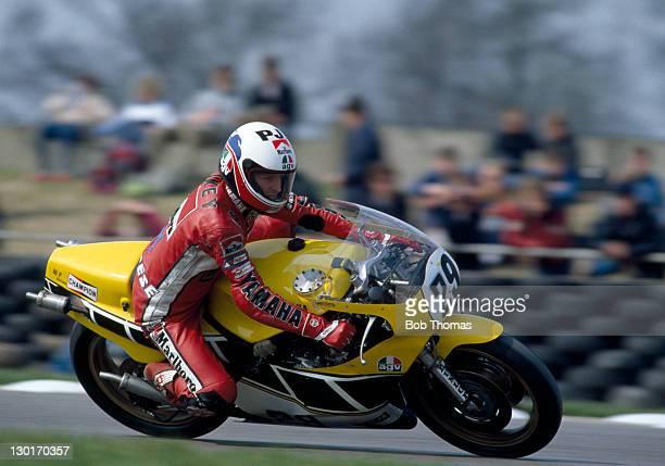 Wayne Rainey of the USA riding a Yamaha TZ500 during the Transatlantic Challenge Motorcycle meeting at Donington Park on 12th April 1984