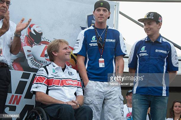 Wayne Rainey of USA and Yamaha Factory Team smiles during the event Rainey is back in Misano of Yamaha Factory Team during the free practice of...