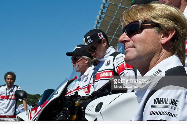 Wayne Rainey of USA poses in front of box of Yamaha Factory Team with the new colour for celebrate the 50th years in MotoGP during the Red Bull US...