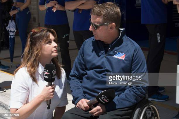 Wayne Rainey of USA speaks with journalists during the MotoGp Red Bull US Grand Prix of The Americas Race at Circuit of The Americas on April 22 2018...