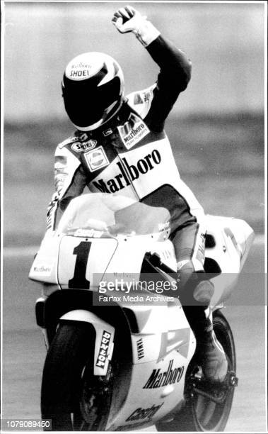 Wayne Rainey Salutes The Crowd After His Win at the Australian Grand Prix Wayne Rainey Gunning itWayne won it but it was the wrong oneAmerica's Wayne...