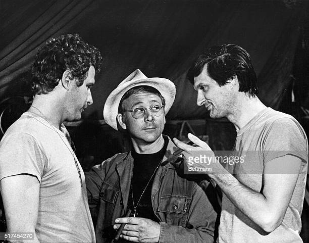 Wayne Rogers as Trapper John William Christopher as Father Mulcahy and Alan Alda as Hawkeye in a scene from the longrunning US television series...