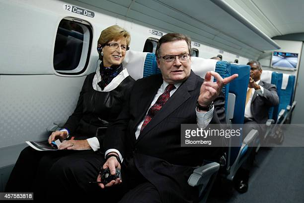 Wayne Rogers, chairman and chief executive officer of the Northeast Maglev LLC , center, and Christine Todd Whitman, former New Jersey Governor and...