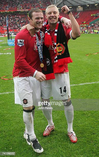 Wayne Rooney and Alan Smith of Manchester United celebrate winning the Barclays Premiership after the Barclays Premiership match between Manchester...