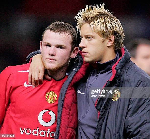 Wayne Rooney and Alan Smith of Manchester United look disappointed after the Barclays Premiership match between Manchester United and Chelsea at Old...