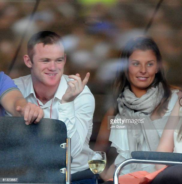 Wayne Rooney and Coleen McLoughlin attend the Liverpool Sound concert held at Anfield Stadium on June 1 2008 in Liverpool England The oneoff musical...
