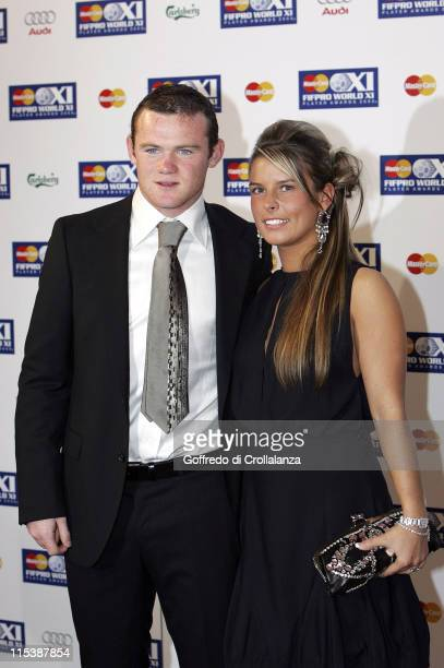 Wayne Rooney and Coleen McLoughlin during FIFPRO World XI Player Awards at Wembley Conference Centre in London Great Britain