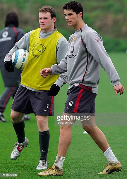 Wayne Rooney and Cristiano Ronaldo of Manchester United in action during a first team training session at Carrington Training Ground on 1 April 2005...