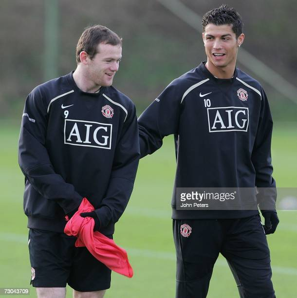 Wayne Rooney and Cristiano Ronaldo of Manchester United in action during a first team training session at Carrington Training Ground on January 19...