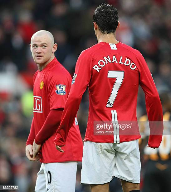Wayne Rooney and Cristiano Ronaldo of Manchester United in action during the Barclays Premier League match between Manchester United and Hull City at...