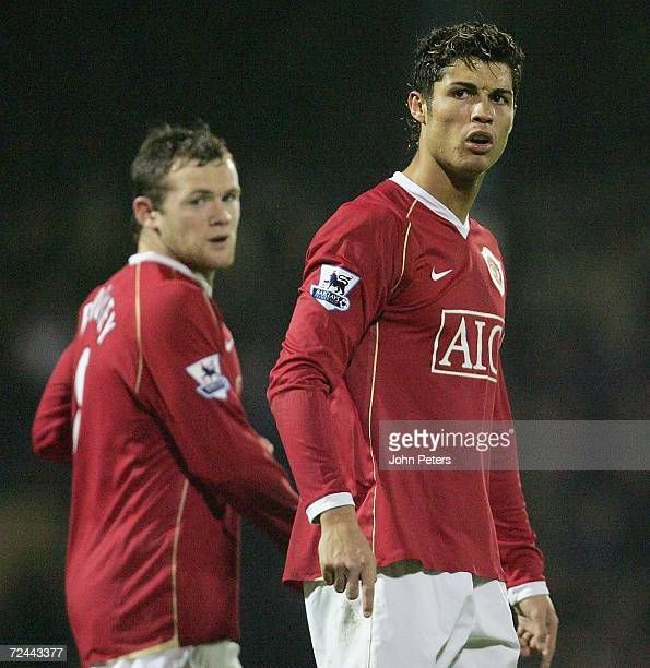 Wayne Rooney and Cristiano Ronaldo of Manchester United show their disappointment at the end of the Carling Cup match between Southend United and...