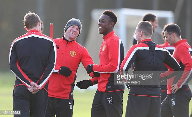 Wayne Rooney and Danny Welbeck of Manchester United in action during a first team training session, ahead of their UEFA Champions League Group A...