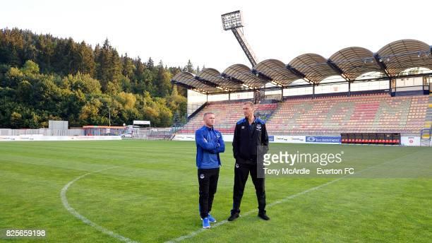 Wayne Rooney and Duncan Ferguson of Everton visit MFK Ruzomberok's Stadium on August 2 2017 in Ruzomberok Slovakia