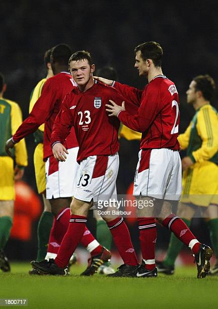 Wayne Rooney and Francis Jeffers of England leaving the field after the International Friendly match between England and Australia held on February...